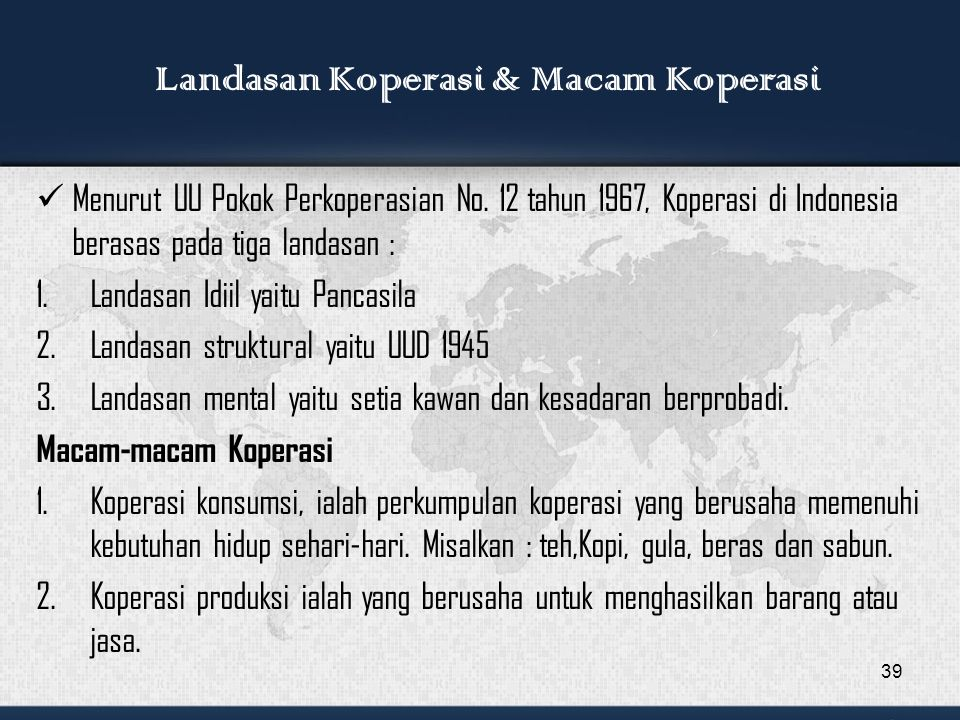 Landasan Koperasi & Macam Koperasi