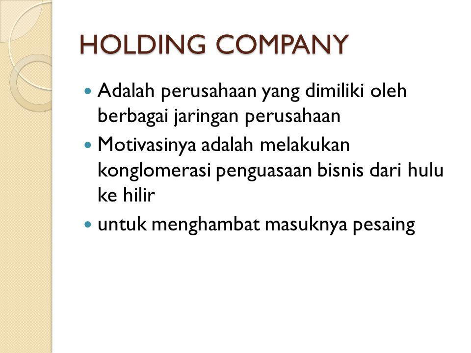 HOLDING COMPANY Adalah perusahaan yang dimiliki oleh berbagai jaringan perusahaan.