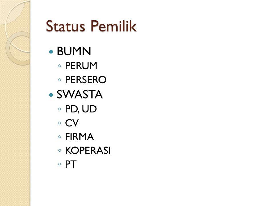 Status Pemilik BUMN PERUM PERSERO SWASTA PD, UD CV FIRMA KOPERASI PT