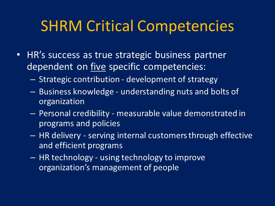 SHRM Critical Competencies