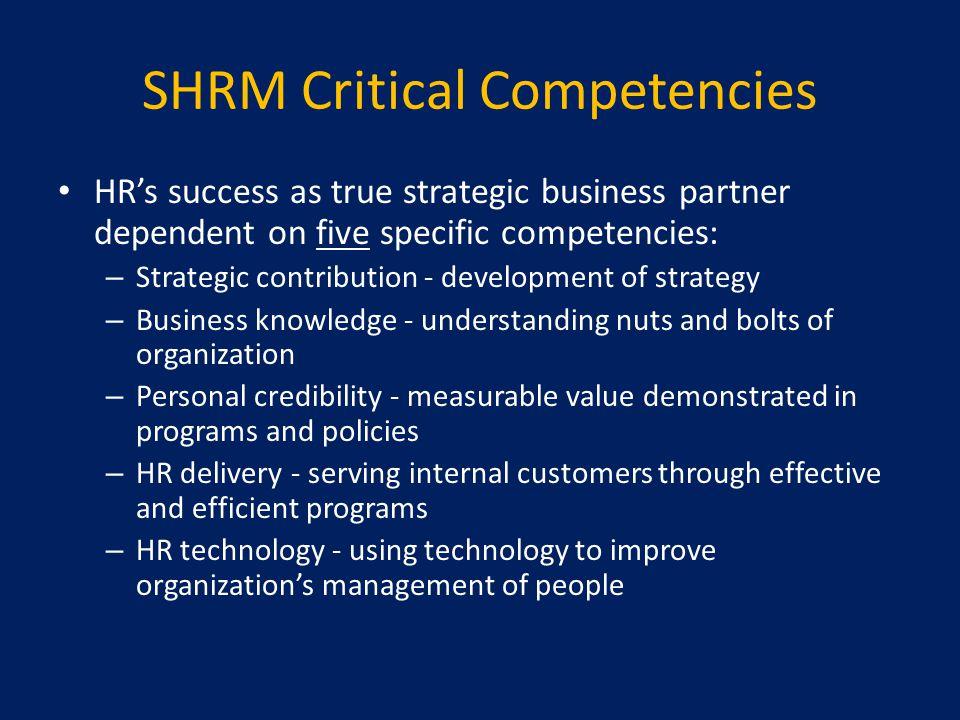SHRM Critical Competencies