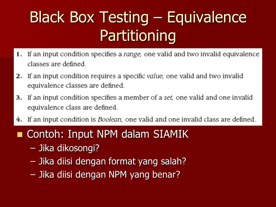 Black Box Testing – Equivalence Partitioning