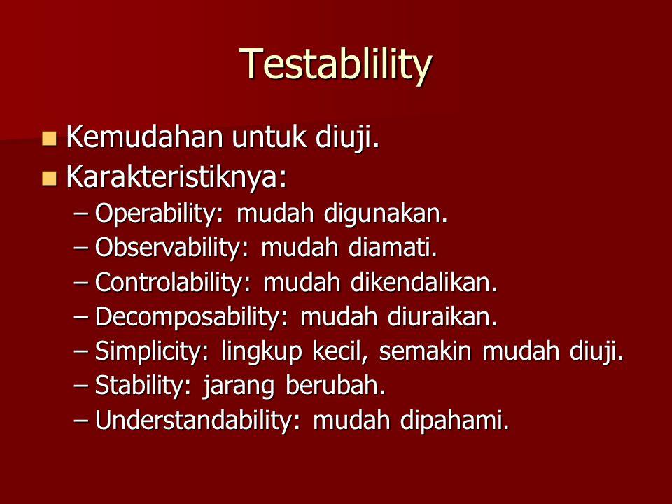 Testablility Kemudahan untuk diuji. Karakteristiknya:
