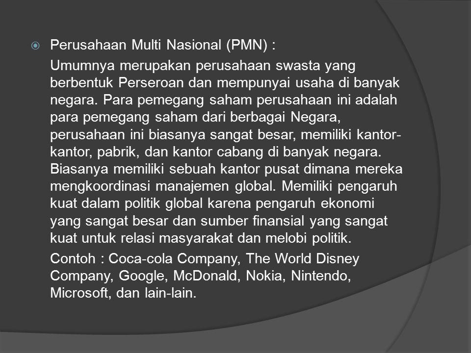 Perusahaan Multi Nasional (PMN) :
