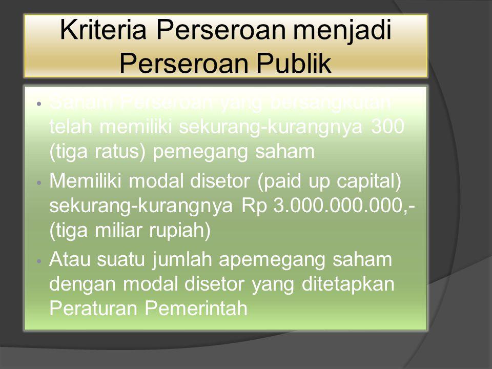 Kriteria Perseroan menjadi Perseroan Publik