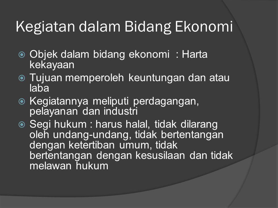 Kegiatan dalam Bidang Ekonomi