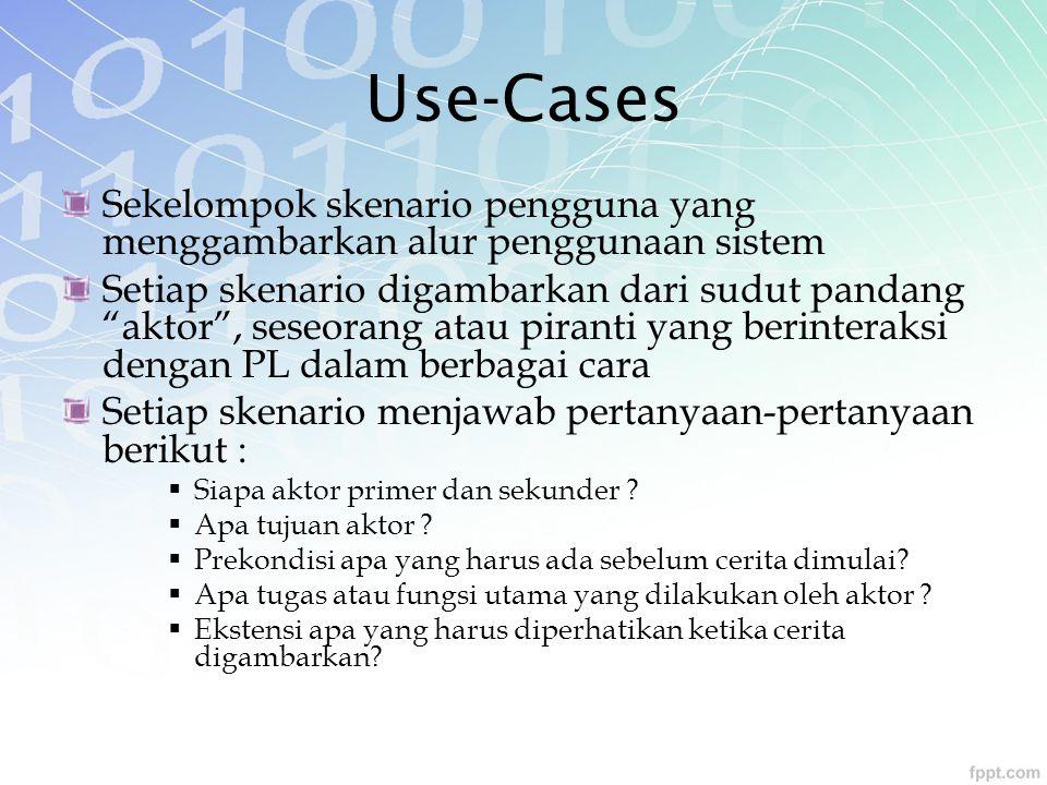 Use-Cases Sekelompok skenario pengguna yang menggambarkan alur penggunaan sistem.