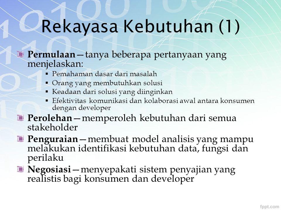 Rekayasa Kebutuhan (1) Permulaan—tanya beberapa pertanyaan yang menjelaskan: Pemahaman dasar dari masalah.