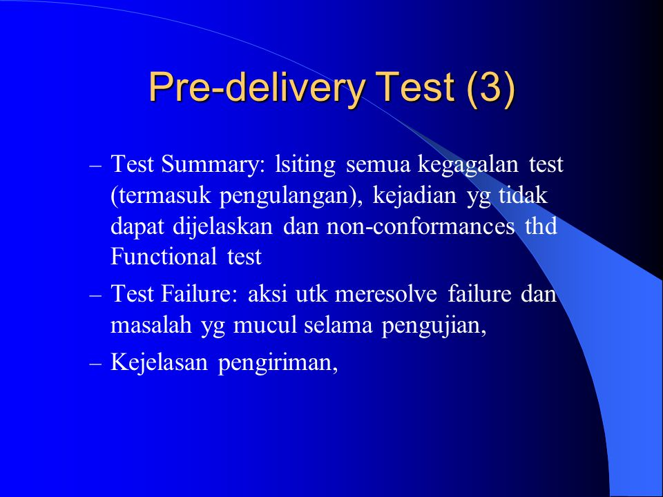 Pre-delivery Test (3)
