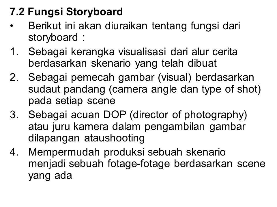 7.2 Fungsi Storyboard Berikut ini akan diuraikan tentang fungsi dari storyboard :