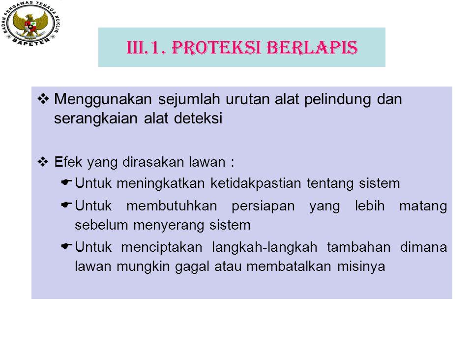 III.1. Proteksi Berlapis Menggunakan sejumlah urutan alat pelindung dan serangkaian alat deteksi. Efek yang dirasakan lawan :