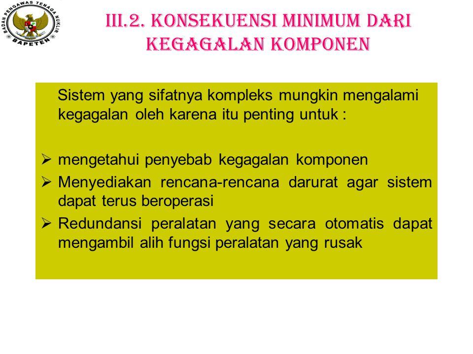 III.2. Konsekuensi Minimum dari Kegagalan Komponen