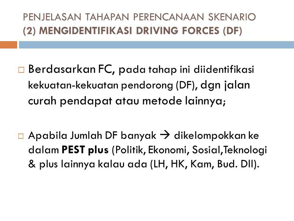 PENJELASAN TAHAPAN PERENCANAAN SKENARIO (2) MENGIDENTIFIKASI DRIVING FORCES (DF)