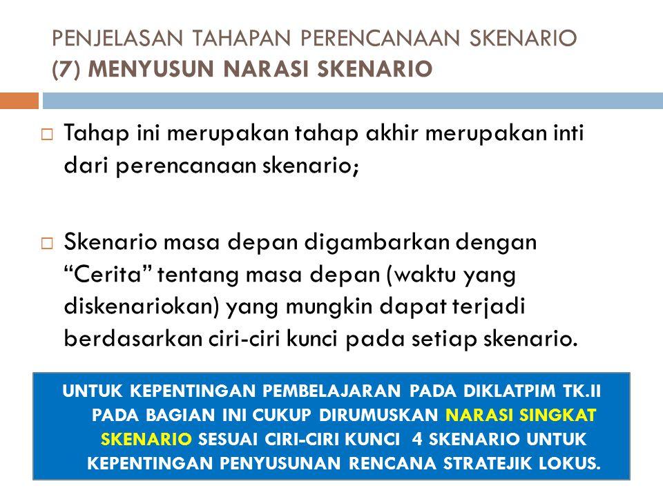 PENJELASAN TAHAPAN PERENCANAAN SKENARIO (7) MENYUSUN NARASI SKENARIO
