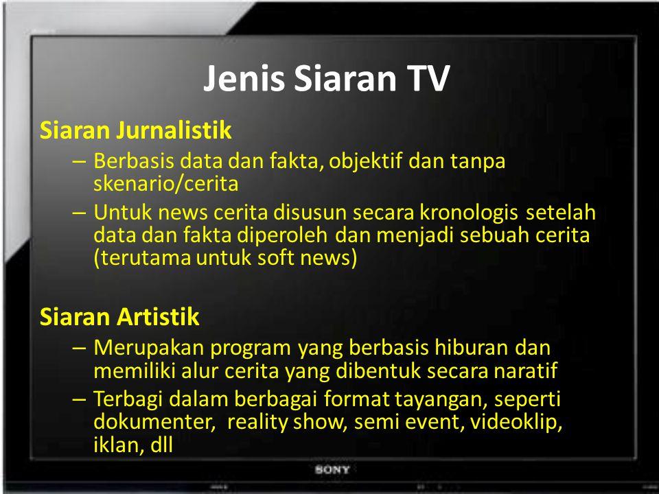 Jenis Siaran TV Siaran Jurnalistik Siaran Artistik