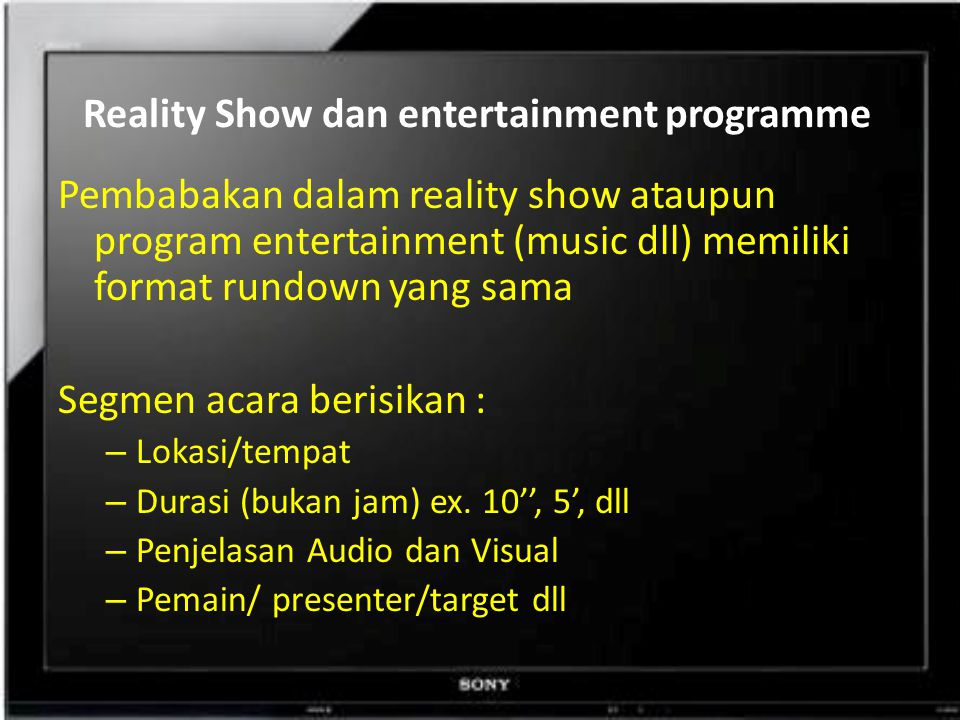 Reality Show dan entertainment programme