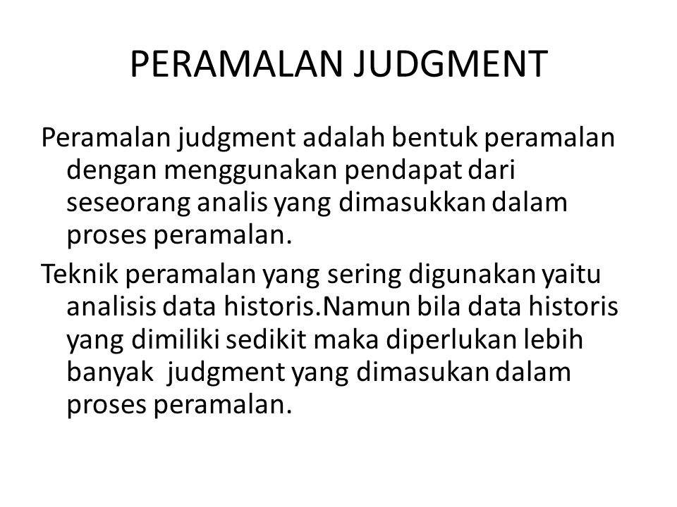 PERAMALAN JUDGMENT