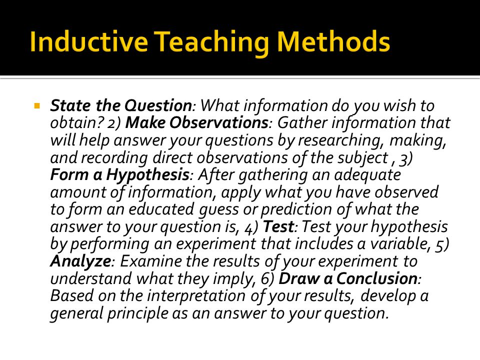 Inductive Teaching Methods