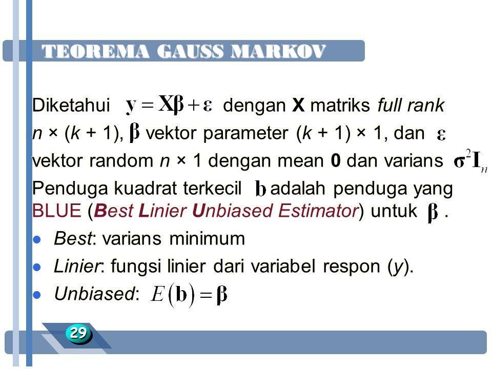 Diketahui dengan X matriks full rank
