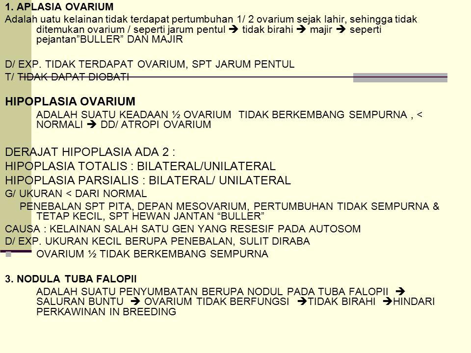 DERAJAT HIPOPLASIA ADA 2 : HIPOPLASIA TOTALIS : BILATERAL/UNILATERAL