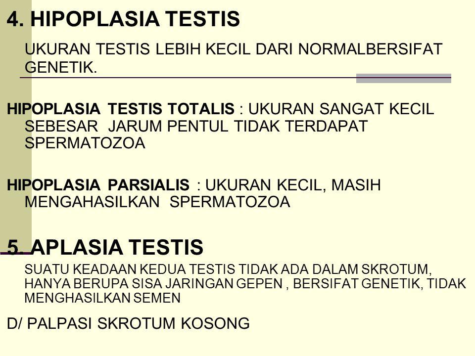 UKURAN TESTIS LEBIH KECIL DARI NORMALBERSIFAT GENETIK.