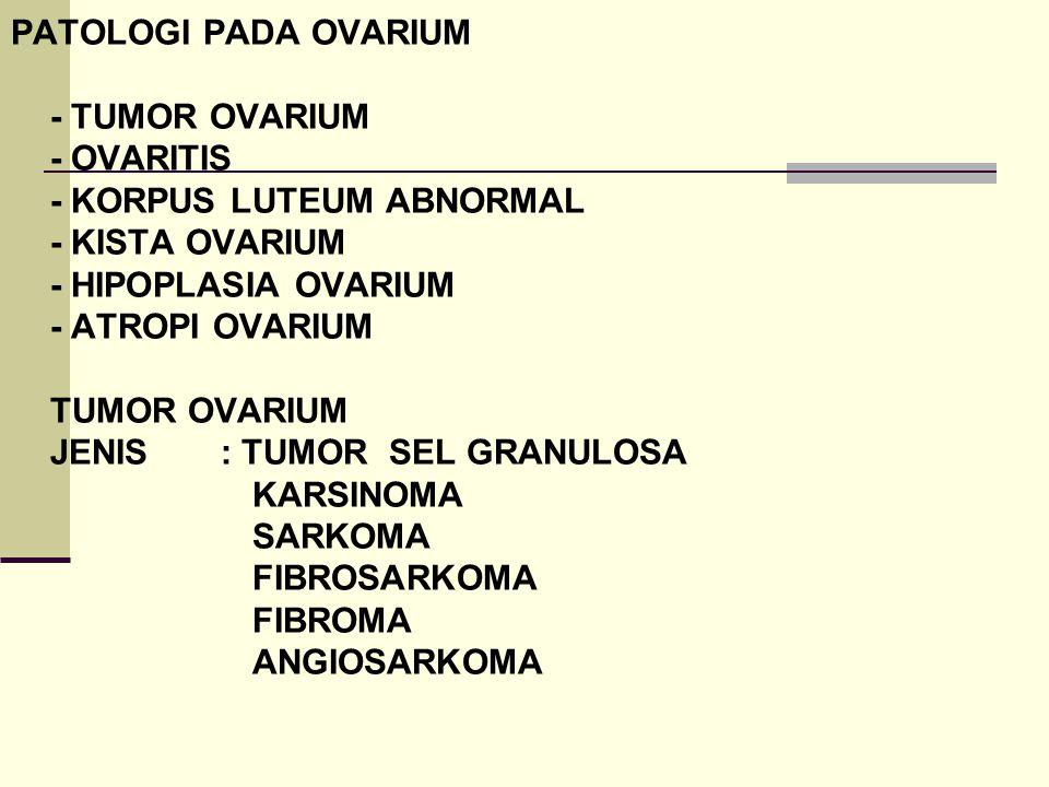 PATOLOGI PADA OVARIUM - TUMOR OVARIUM - OVARITIS - KORPUS LUTEUM ABNORMAL - KISTA OVARIUM - HIPOPLASIA OVARIUM - ATROPI OVARIUM TUMOR OVARIUM JENIS : TUMOR SEL GRANULOSA KARSINOMA SARKOMA FIBROSARKOMA FIBROMA ANGIOSARKOMA