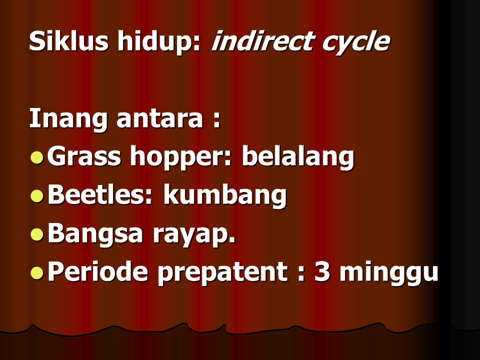 Siklus hidup: indirect cycle