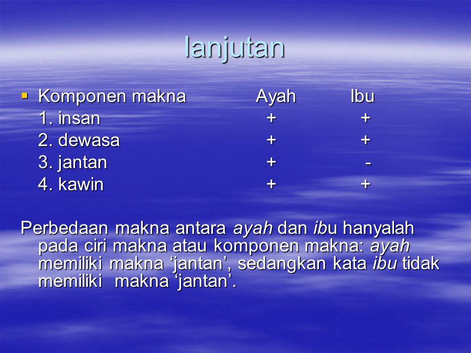 lanjutan Komponen makna Ayah Ibu 1. insan + + 2. dewasa + +