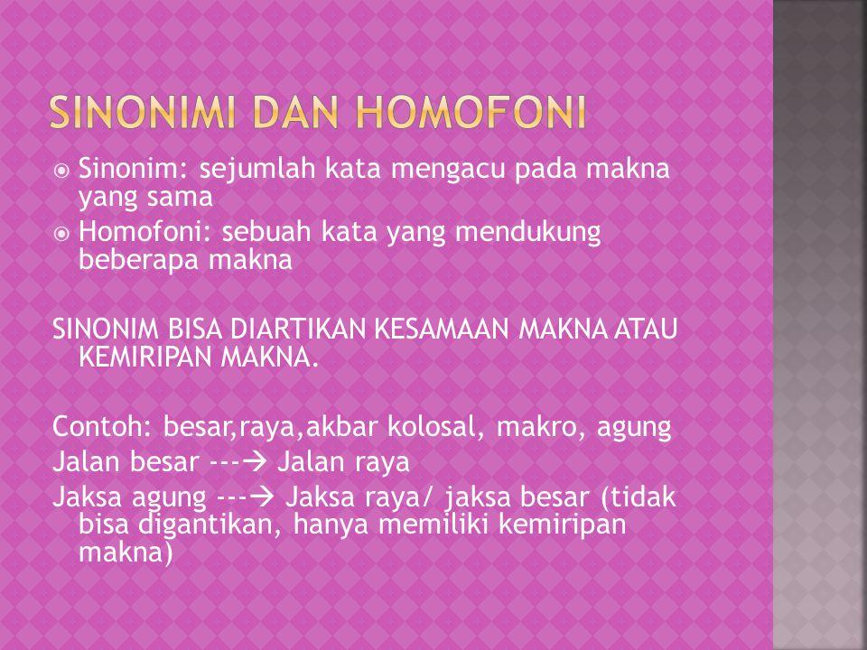 Sinonimi dan Homofoni Sinonim: sejumlah kata mengacu pada makna yang sama. Homofoni: sebuah kata yang mendukung beberapa makna.