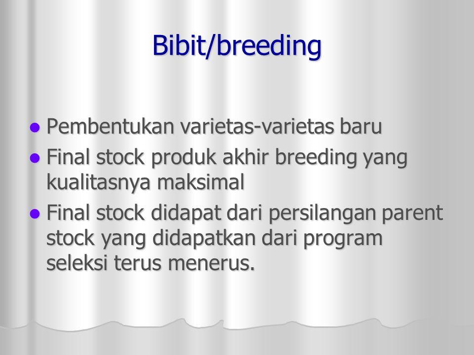 Bibit/breeding Pembentukan varietas-varietas baru