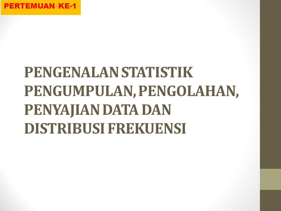 PERTEMUAN KE-1 PENGENALAN STATISTIK PENGUMPULAN, PENGOLAHAN, PENYAJIAN DATA DAN DISTRIBUSI FREKUENSI.