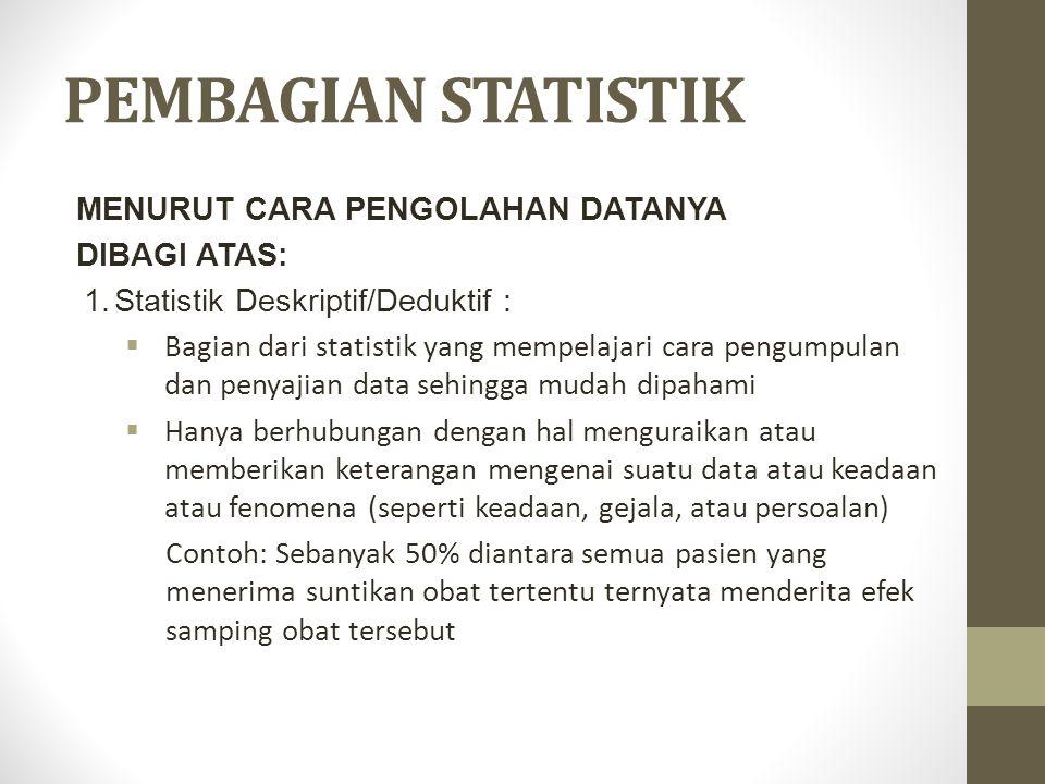 PEMBAGIAN STATISTIK MENURUT CARA PENGOLAHAN DATANYA DIBAGI ATAS: