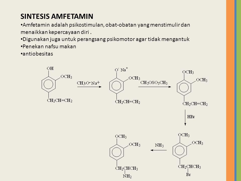 SINTESIS AMFETAMIN Amfetamin adalah psikostimulan, obat-obatan yang menstimulir dan menaikkan kepercayaan diri .
