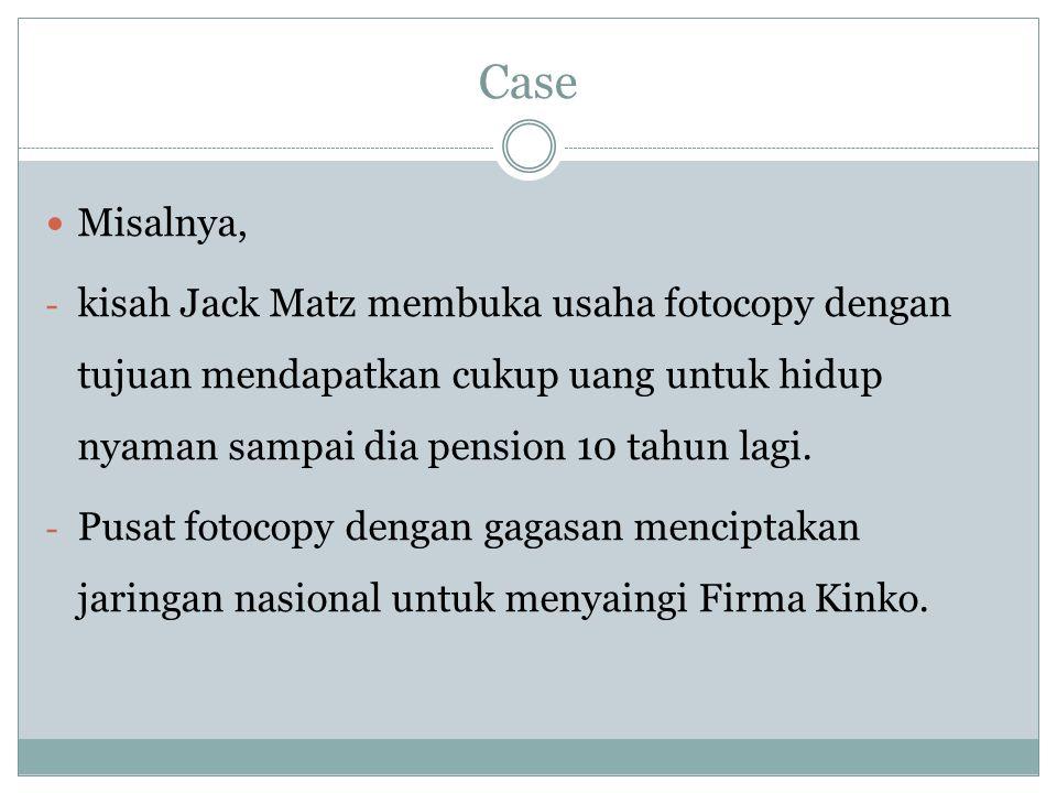 Case Misalnya, kisah Jack Matz membuka usaha fotocopy dengan tujuan mendapatkan cukup uang untuk hidup nyaman sampai dia pension 10 tahun lagi.
