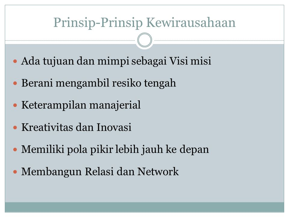 Prinsip-Prinsip Kewirausahaan