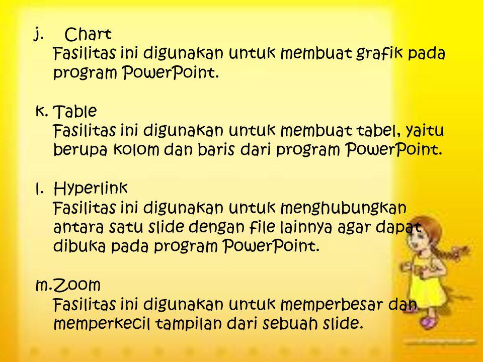 j. Chart Fasilitas ini digunakan untuk membuat grafik pada program PowerPoint. Table.