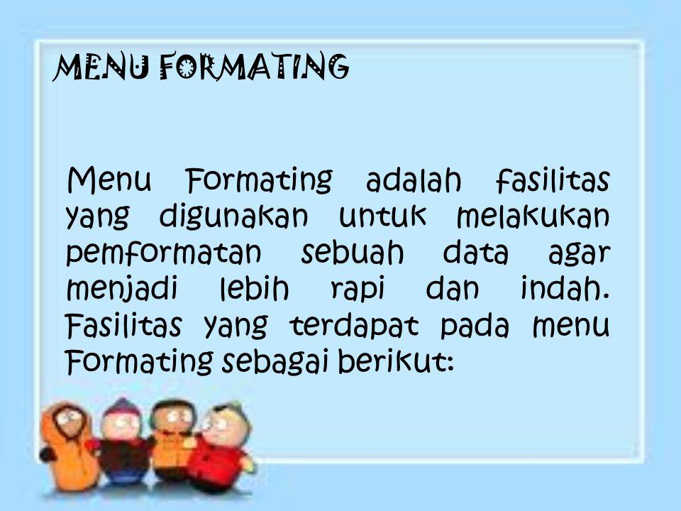 MENU FORMATING