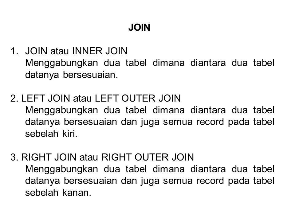 JOIN JOIN atau INNER JOIN. Menggabungkan dua tabel dimana diantara dua tabel datanya bersesuaian. 2. LEFT JOIN atau LEFT OUTER JOIN.