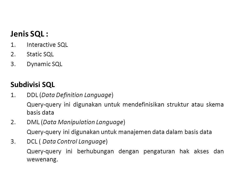 Jenis SQL : Subdivisi SQL Interactive SQL Static SQL Dynamic SQL
