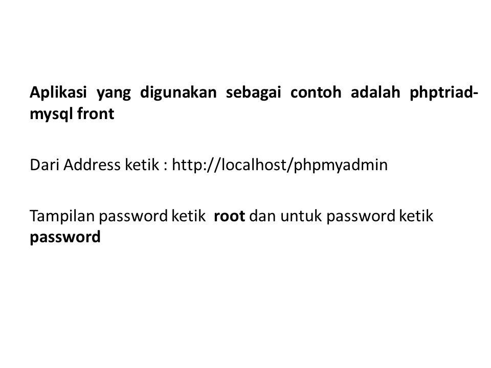 Aplikasi yang digunakan sebagai contoh adalah phptriad-mysql front Dari Address ketik : http://localhost/phpmyadmin Tampilan password ketik root dan untuk password ketik password