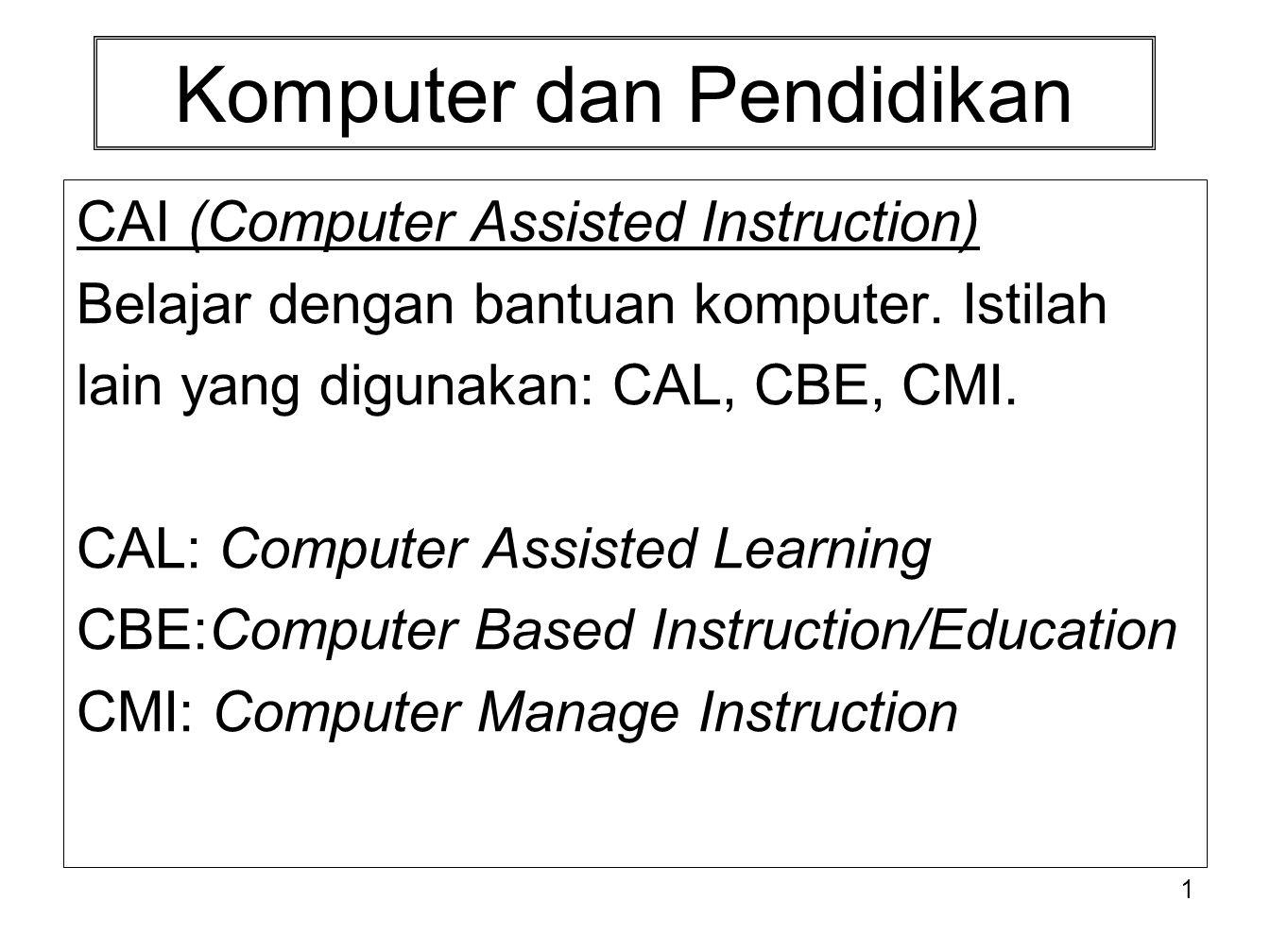 Komputer dan Pendidikan