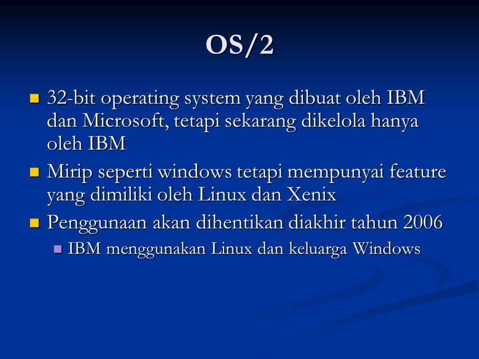 OS/2 32-bit operating system yang dibuat oleh IBM dan Microsoft, tetapi sekarang dikelola hanya oleh IBM.