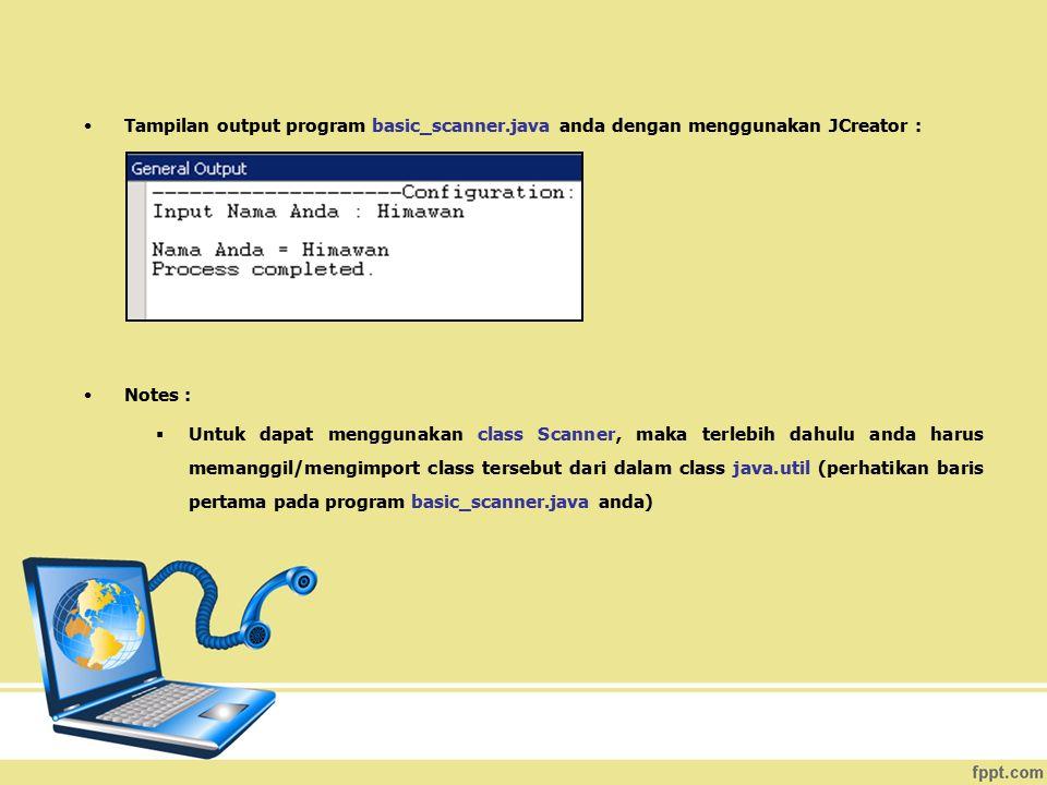 Tampilan output program basic_scanner