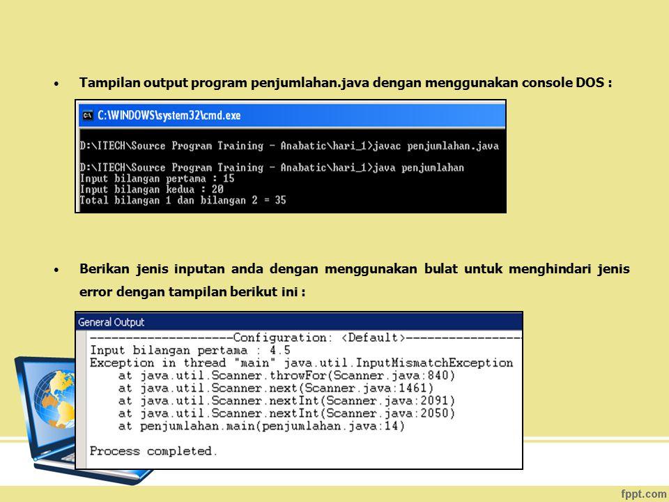 Tampilan output program penjumlahan