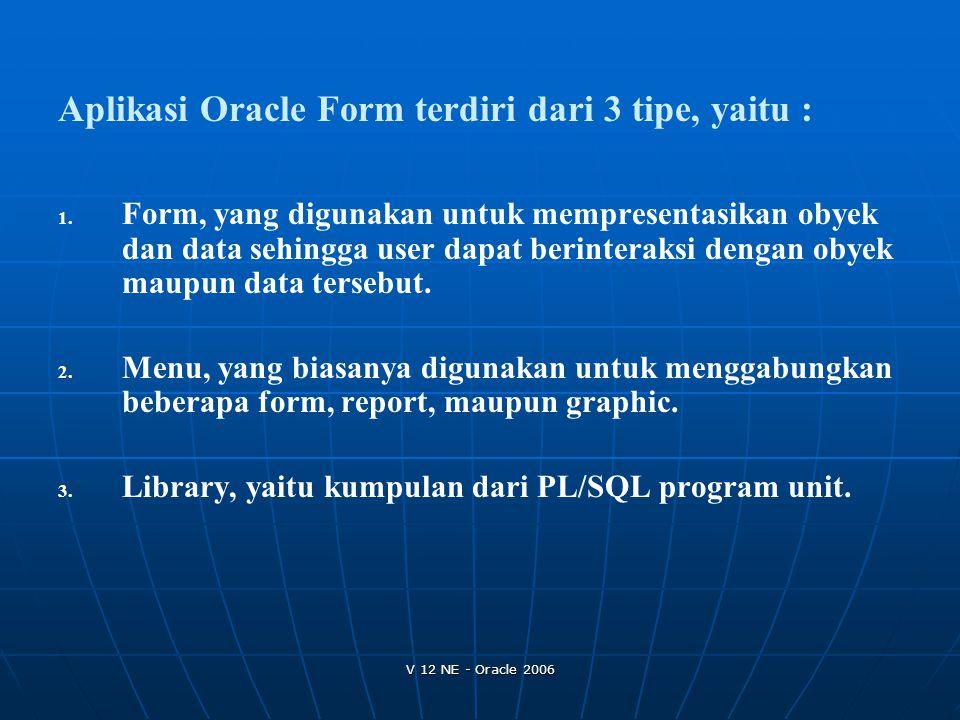 Aplikasi Oracle Form terdiri dari 3 tipe, yaitu :
