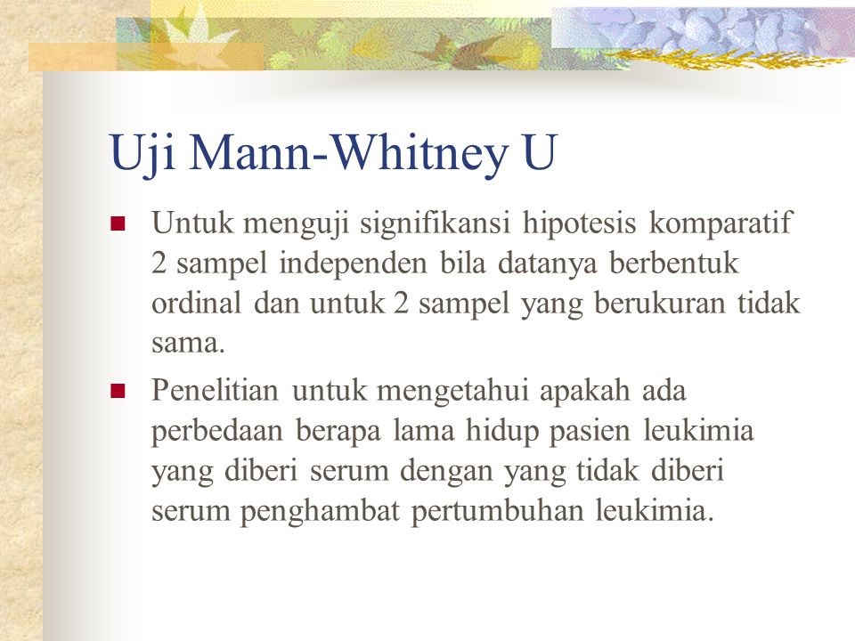 Uji Mann-Whitney U