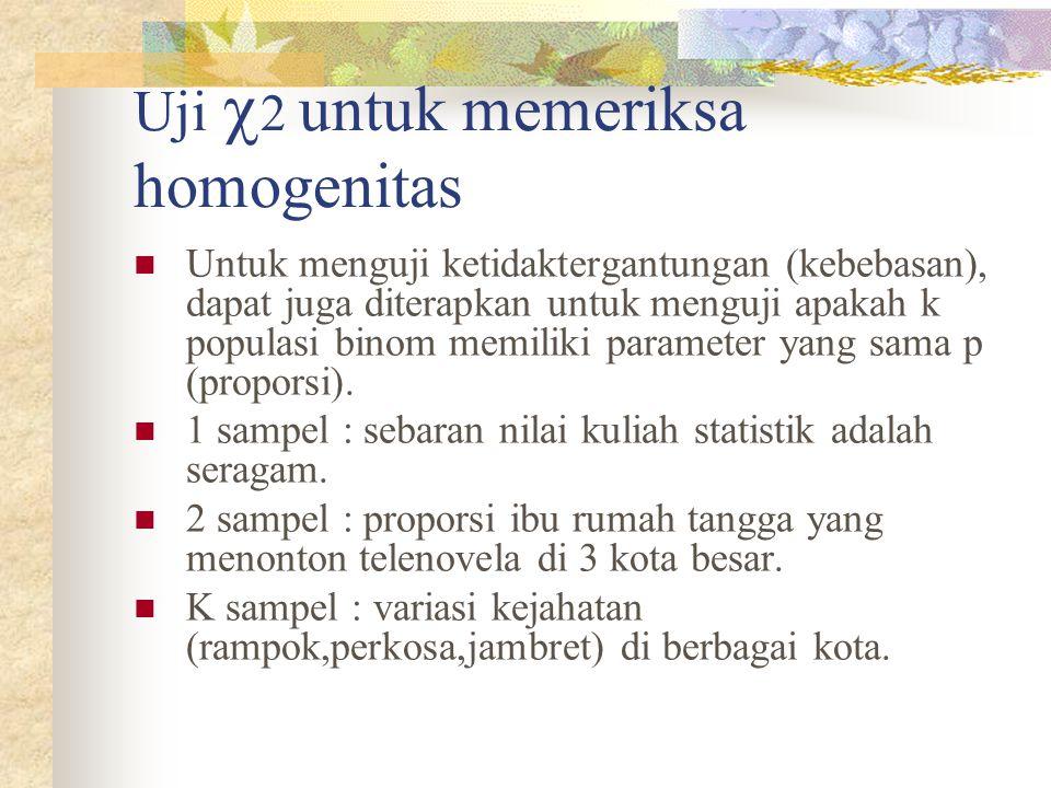 Uji 2 untuk memeriksa homogenitas