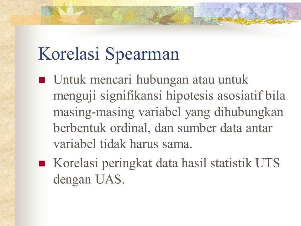Korelasi Spearman