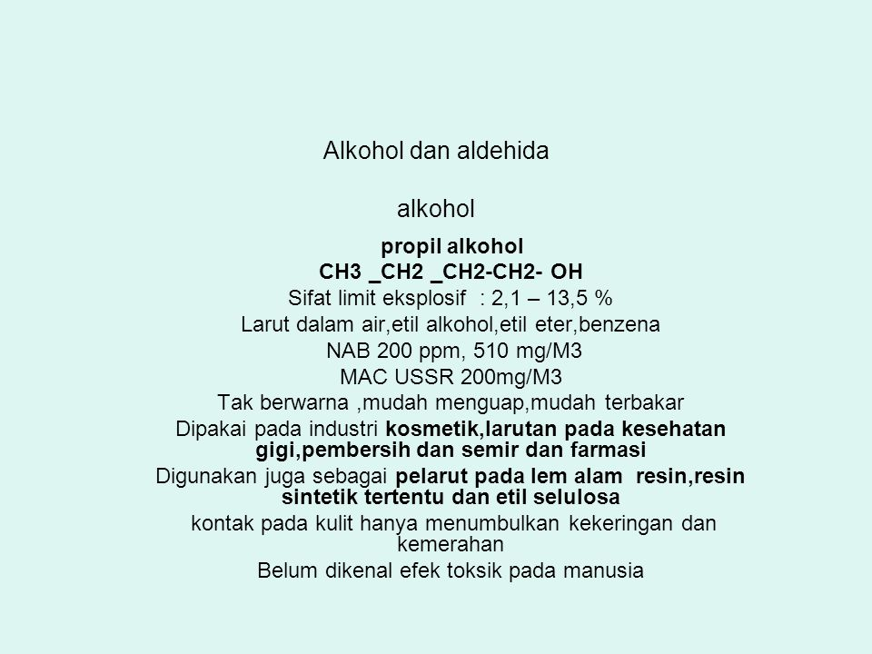 Alkohol dan aldehida alkohol
