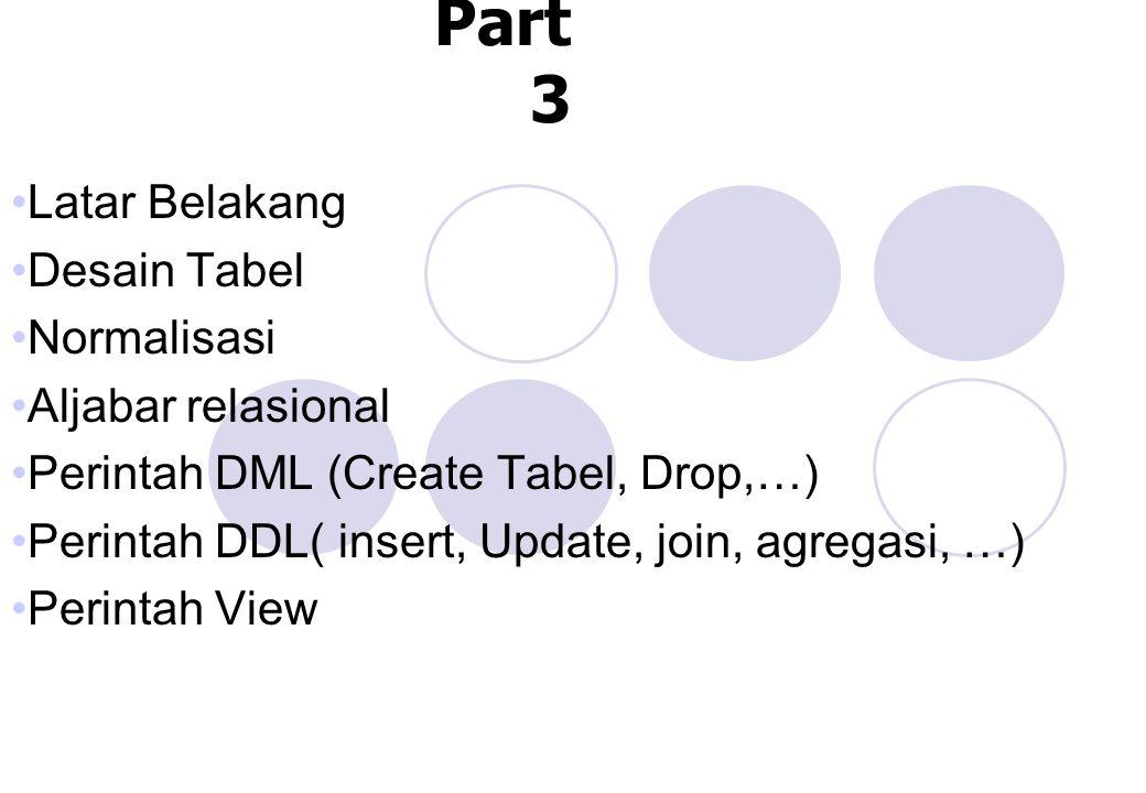 SQL Part 3 Latar Belakang Desain Tabel Normalisasi Aljabar relasional